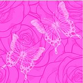 seamless background with butterflies and flowers roses
