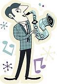 Retro Style Sax Player Cartoon