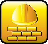 construction button with helmet and