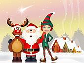 Santa Claus, reindeer and elf