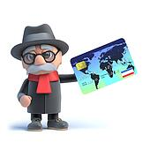 3d Old man using a credit card