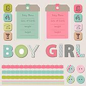 Scrapbook Baby Girl and Boy Set