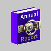 Annual report book vault isolated on grey