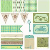 Scrapbook design elements - Vintage Boy Set