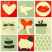 Happy valentines day and weeding retro set