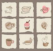 Coffee Design Elements on torn Paper - for scrapbook, design, invitation, greetings
