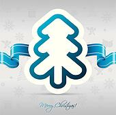 Christmas tree card with ribbon
