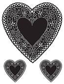 Antique Black Lace Heart Doilies