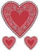 Antique Red Lace Heart Doilies