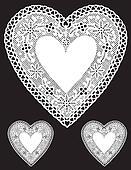 Antique White Lace Heart Doilies