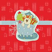 Christmas Card with Bunny  in vector