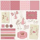 Scrapbook Vintage design elements - Baby Girl Announcement