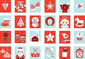 Advent calendar, retro christmas icons isolated on white