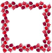 Floral blank frame with stylized red tulips