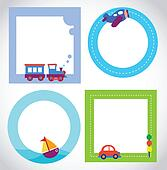 card templates with toy transportation