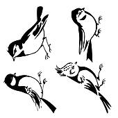birds silhouette on white background, vector illustration
