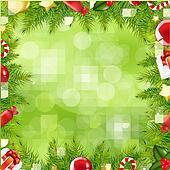 Christmas Tree Border With Blur