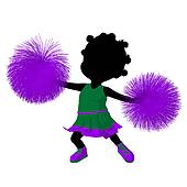 Little African American Cheer Girl Illustration Silhouette