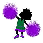 Little African American Cheer Girl Illustration Silhouette