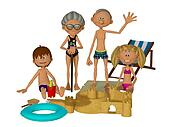 3d cartoon grandparents with kids on the beach