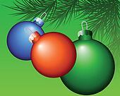 multi-colored Christmas tree toys