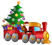 Santa in Train with Gifts and Christmas Tree