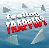 Feeling Trapped Words Shark Fins Circling Ocean