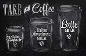 Set of Coffee chalk. Raster.