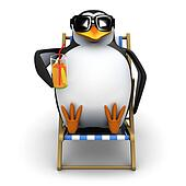 3d Penguin in a deckchair