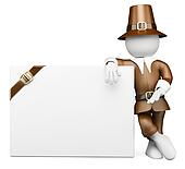 3D white people. Thanksgiving Day costume. Blank billboard
