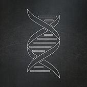 Health concept: DNA on chalkboard background