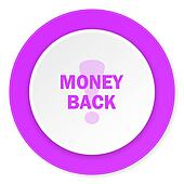 money back violet pink circle 3d modern flat design icon on white background