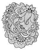 Zen-doodle or Zen-tangle floral pattern. Mehndi style
