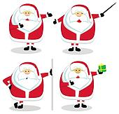 Four Santas in different positions. Vector illustration