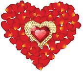 Rose petal and jewel heart