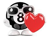 3d 8 Ball hugs a red heart