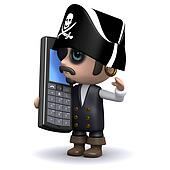 3d Pirate chats on a cell phone