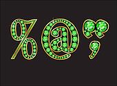 Punctuation in Peridot Jeweled Font with Gold Channels