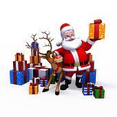 Santa Claus holding a gift box