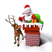 Santa Claus with Elves in chimney