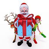 Santa with reindeer and Elves.