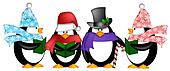 Penguins Singing Christmas Carol Cartoon Clipart