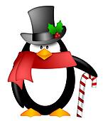 Penguin with Top Hat Red Scarf and Candy Cane Clipart