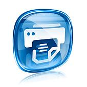 printer icon blue glass, isolated on white background.