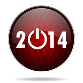 year 2014 red glossy web icon on white background
