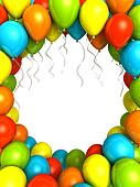 Party ballons on white background 3D illustration