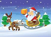 Santa and Reindeer at Christmas