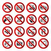 Set icons Prohibited symbols Industrial hazard signs