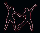 Lets Party Dancing 70s Neon Outline Couple