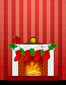 Fireplace Christmas Decoration wth Stockings and Wallpaper